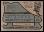 1979 Topps #76  Dennis Kearns  Back Thumbnail