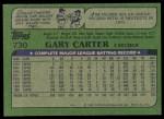 1982 Topps #730  Gary Carter  Back Thumbnail