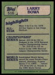 1982 Topps #516   -  Larry Bowa In Action Back Thumbnail
