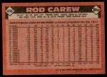 1986 Topps #400  Rod Carew  Back Thumbnail