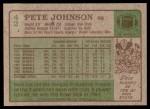 1984 Topps #42  Pete Johnson  Back Thumbnail