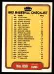 1982 Fleer #659   Blue Jays / Cubs Checklist Front Thumbnail
