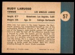1961 Fleer #57   -  Rudy LaRusso In Action Back Thumbnail