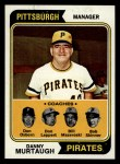 1974 Topps #489   -  Danny Murtaugh / Don Leppert / Bill Mazeroski / Don Osborn / Bob Skinner Pirates Leaders   Front Thumbnail