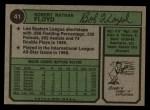 1974 Topps #41  Bobby Floyd  Back Thumbnail