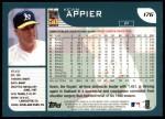 2001 Topps #176  Kevin Appier  Back Thumbnail
