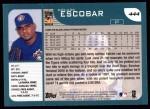 2001 Topps #444  Kelvim Escobar  Back Thumbnail