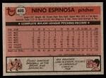 1981 Topps #405  Nino Espinosa  Back Thumbnail