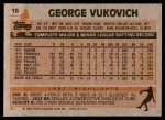 1983 Topps #16  George Vuckovich  Back Thumbnail