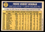 1970 Topps #427  Fred Norman  Back Thumbnail