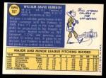 1970 Topps #167  Bill Burbach  Back Thumbnail