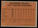 1972 Topps #222   -  Brooks Robinson / Mark Belanger 1971 AL Playoffs - Orioles Champs Back Thumbnail