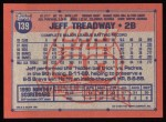 1991 Topps #139  Jeff Treadway  Back Thumbnail