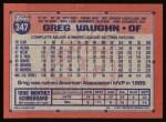 1991 Topps #347  Greg Vaughn  Back Thumbnail