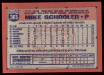1991 Topps #365  Mike Schooler  Back Thumbnail