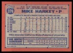 1991 Topps #376  Mike Harkey  Back Thumbnail