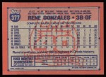 1991 Topps #377  Rene Gonzales  Back Thumbnail