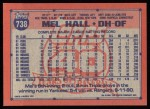1991 Topps #738  Mel Hall  Back Thumbnail