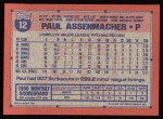 1991 Topps #12  Paul Assenmacher  Back Thumbnail