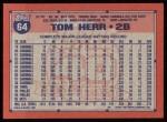 1991 Topps #64  Tom Herr  Back Thumbnail
