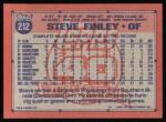 1991 Topps #212  Steve Finley  Back Thumbnail