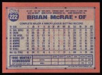 1991 Topps #222  Brian McRae  Back Thumbnail