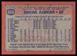 1991 Topps #659  Oscar Azocar  Back Thumbnail