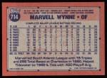 1991 Topps #714  Marvell Wynne  Back Thumbnail
