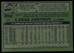 1982 Topps #13  Lamar Johnson  Back Thumbnail