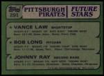 1982 Topps #291   -  Vance Law / Bob Long / Johnny Ray Pirates Rookies Back Thumbnail