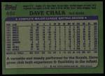 1982 Topps #462  Dave Chalk  Back Thumbnail