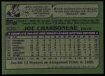 1982 Topps #630  Joe Charboneau  Back Thumbnail