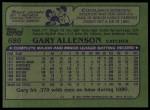 1982 Topps #686  Gary Allenson  Back Thumbnail