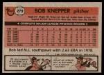1981 Topps #279  Bob Knepper  Back Thumbnail