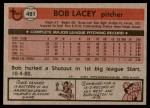 1981 Topps #481  Bob Lacey  Back Thumbnail