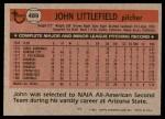 1981 Topps #489  John Littlefield  Back Thumbnail
