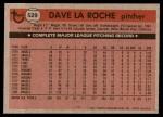 1981 Topps #529  Dave LaRoche  Back Thumbnail