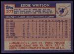 1984 Topps #277  Ed Whitson  Back Thumbnail