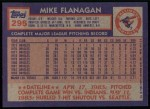 1984 Topps #295  Mike Flanagan  Back Thumbnail