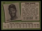 1971 Topps #106  Tom Dukes  Back Thumbnail