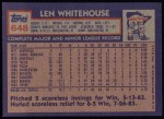 1984 Topps #648  Len Whitehouse  Back Thumbnail