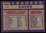 1984 Topps #718   -  Goose Gossage / Dan Quisenberry / Rollie Fingers AL Active Save Leaders Back Thumbnail
