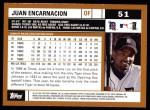 2002 Topps #51  Juan Encarnacion  Back Thumbnail