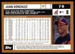 2002 Topps #70  Juan Gonzalez  Back Thumbnail