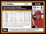 2002 Topps #545  Pat Burrell  Back Thumbnail