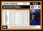 2002 Topps #553  Delino Deshields  Back Thumbnail