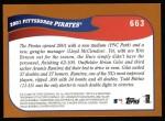 2002 Topps #663   Pittsburgh Pirates Back Thumbnail