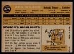 1960 Topps #379  Red Wilson  Back Thumbnail