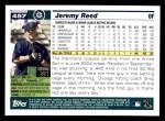 2005 Topps #457  Jeremy Reed  Back Thumbnail