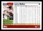 2005 Topps #555  Larry Walker  Back Thumbnail
